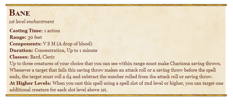 Bane 5e spell in dungeons and dragons