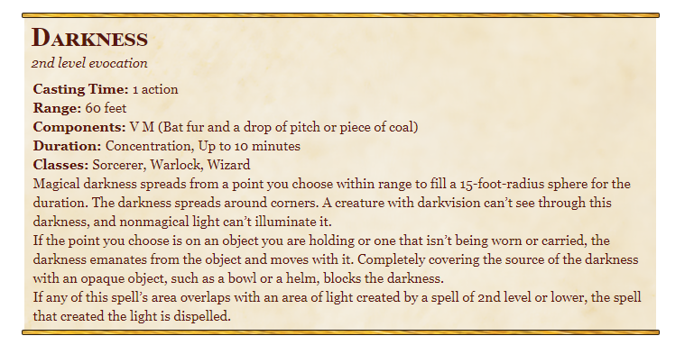Darkness 5e spell in dnd