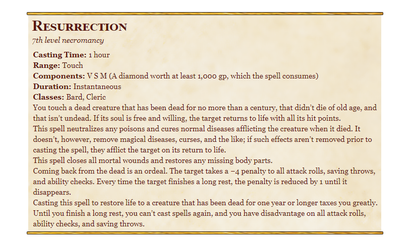 Resurrection 5e in D&D spells