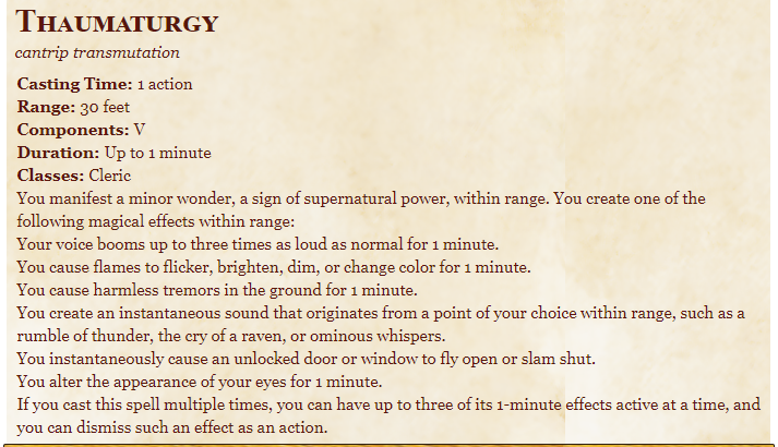 Thaumaturgy 5e (5th Edition) in D&D