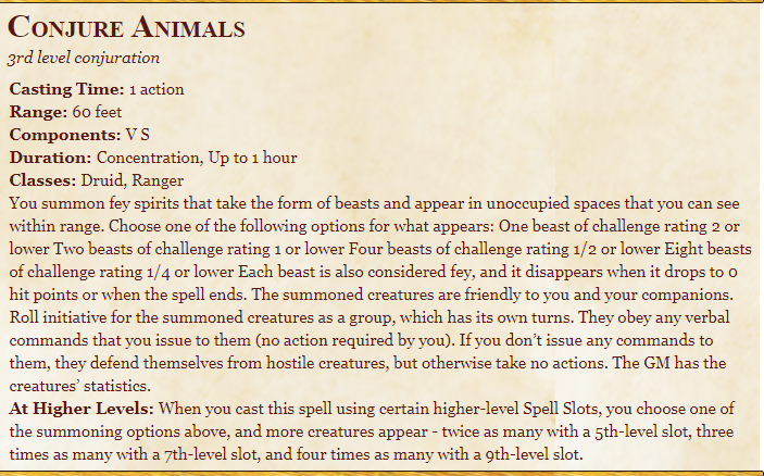 Conjure animals spell in dnd