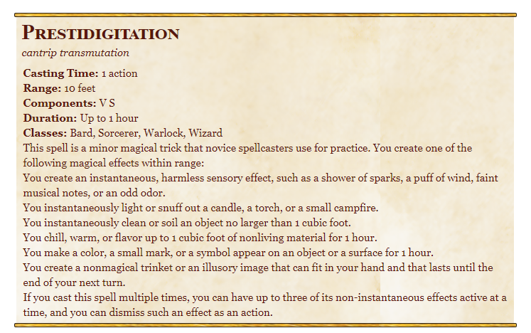 Prestidigitation 5e spell