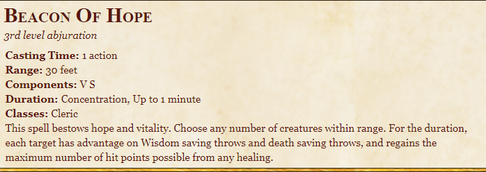 Beacon Of Hope 5E Spell