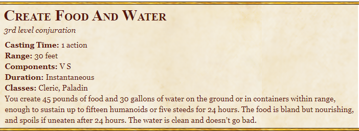 Create Food And Water 5E