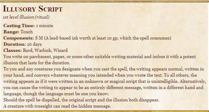 Illusory Script 5E