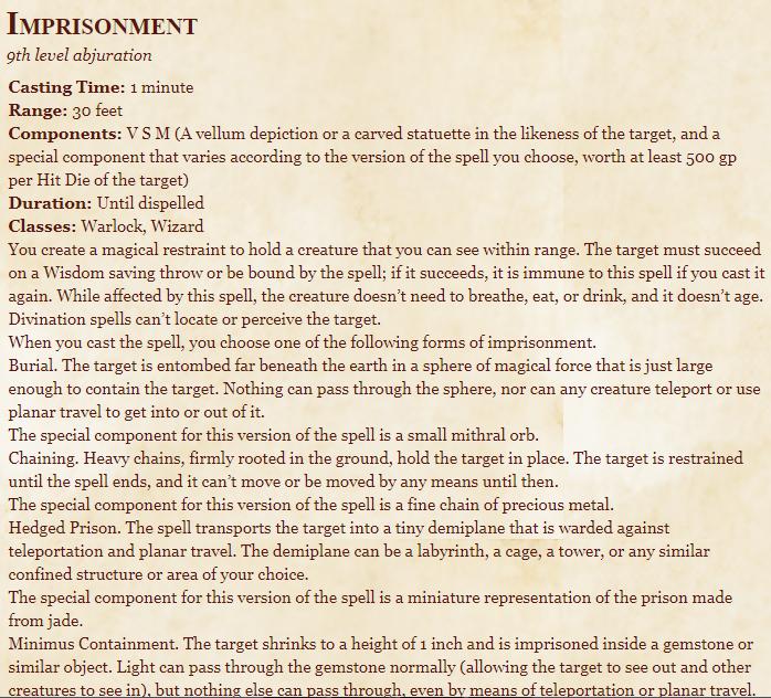 Imprisonment 5E Spell