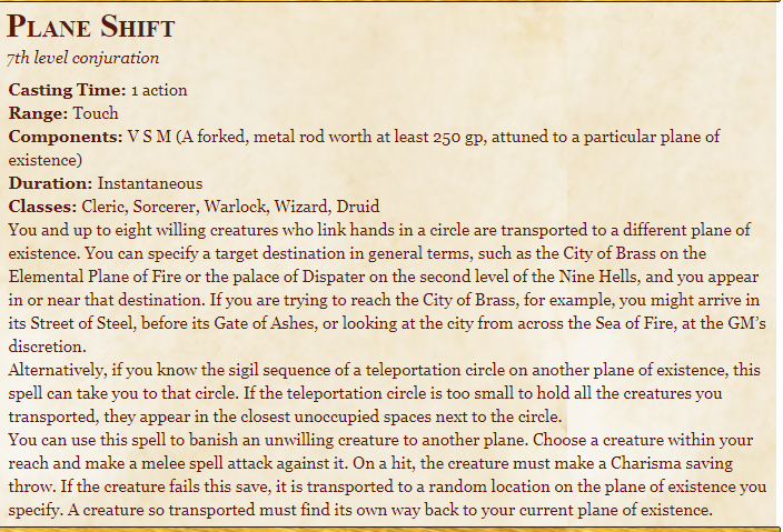 Plane Shift 5E Spell