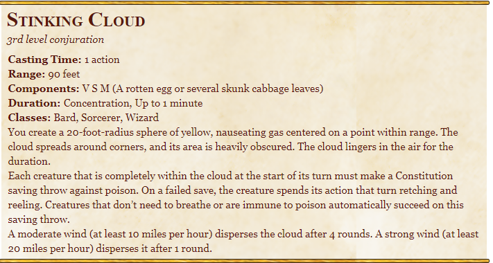 Stinking Cloud 5E Spell