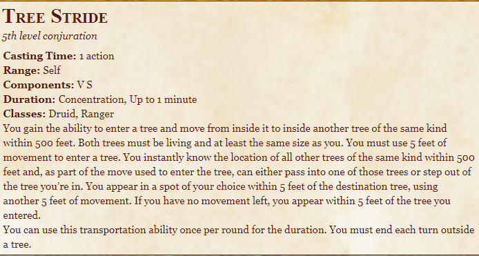 Tree Stride 5e Spell