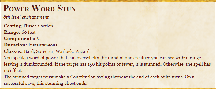 Power word stun 5e