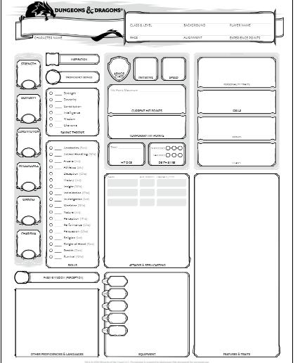 D&D 5e Character sheet fillable