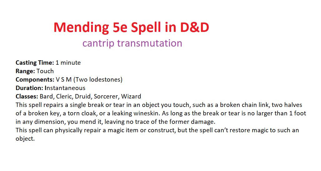 Mending D&D 5th Edition