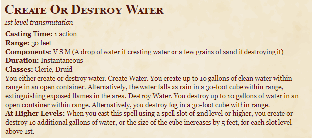 Create or Destroy Water 5E Spell In DnD